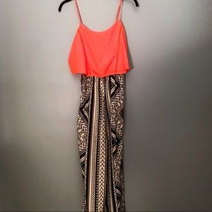Flying Tomato Orange & Black Print Jumpsuit